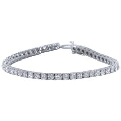 Diamond Line Tennis Bracelet, 6.33 Carat Total in 18 Karat White Gold