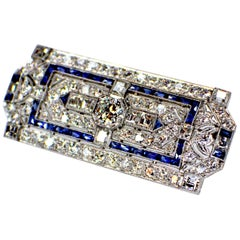 Art Deco Sapphire and Diamond Brooch, 1920s