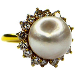 Cultured South Seas Pearl and Diamond Ring, 1980s