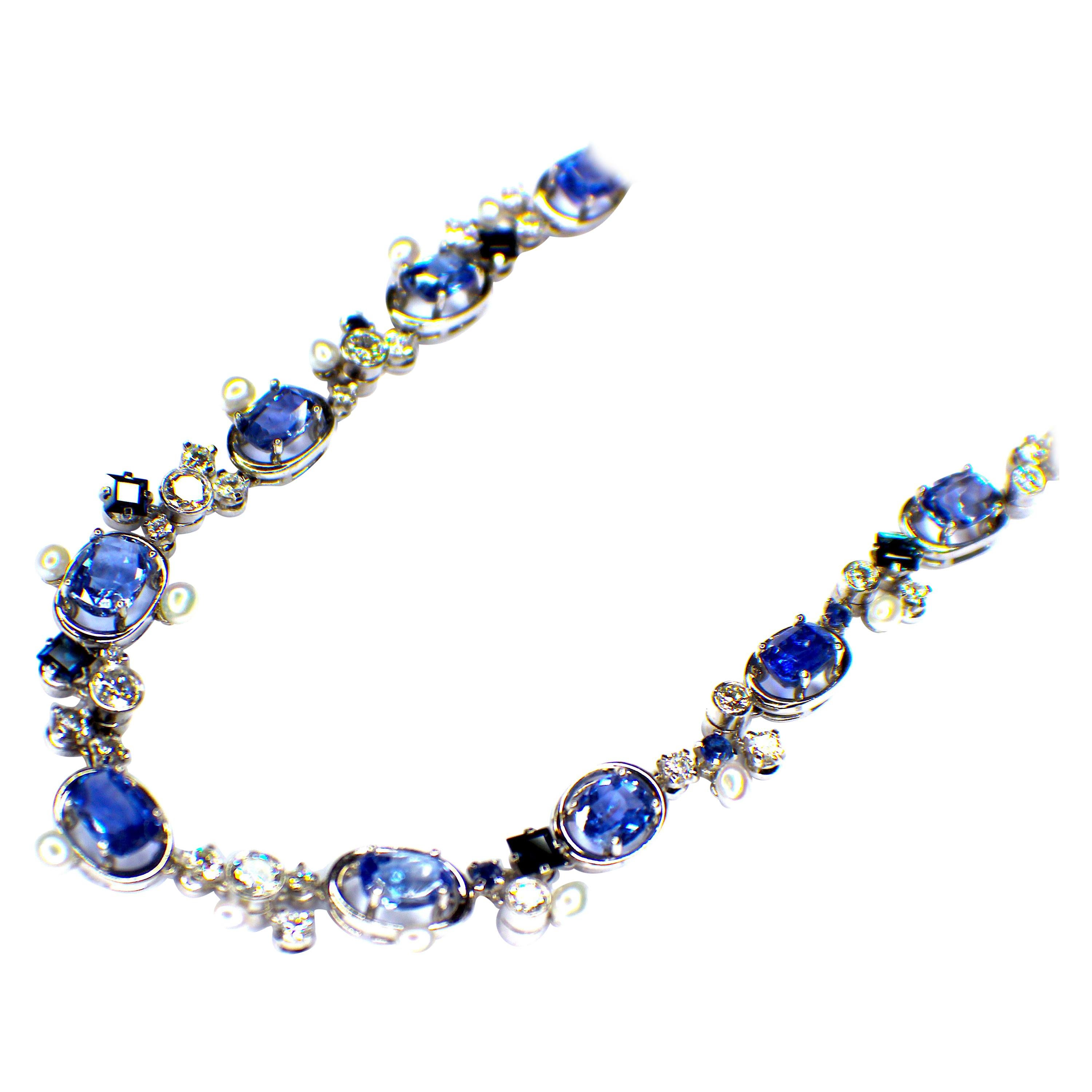 GEMOLITHOS Sapphire, Diamond and Pearl Necklace, 1960s