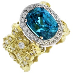 Stambolian Yellow Gold and Diamond Ring with Blue Zircon Center