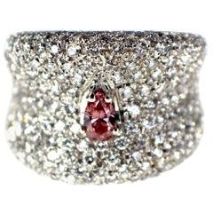 GIA 0.26ct Fancy Intense Purplish Pink Natural Diamond and Diamond Ring Pave Set