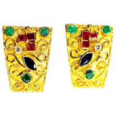 Byzantine Style, Handcrafted, Gem Set Earrings, 1970s-1980s