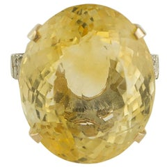 40.93 Carat Yellow Topaz White Diamonds Rose and White Gold Ring