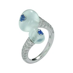 Double Moonstone Blue Sapphire and Diamond Toi et Moi Ring