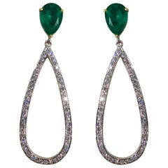 4.41 Carat Pear Shape Emerald and Diamond Dangle Earrings