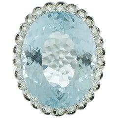 7.70 Gr Light-Blue Topaz  Aquamarine color White Diamonds White Gold Ring
