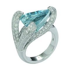7.67 Carat Trillion Cut Aquamarine and Diamond Cocktail Ring