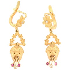 Gold Diamond and Ruby Mask Pendent Earrings