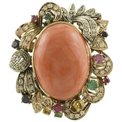 Diamonds Rubies Emeralds Blue and Yellow Sapphires Coral Rose Gold Silver Ring