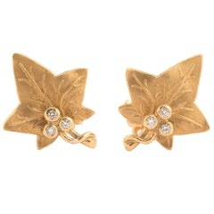 Pair of Diamond and Gold Leaf Earrings