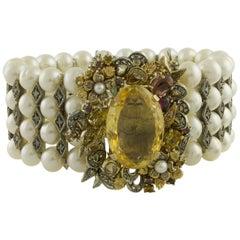 Diamonds Yellow Topaz Garnets Peridot Little Pearls Rose Gold Silver Bracelet