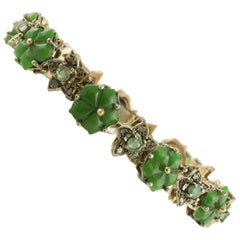 Diamonds Emeralds Malaysian Jade Rose Gold and Silver Bracelet