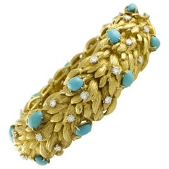 White Diamonds Turquoise Yellow Gold Leaves Theme Retrò Bracelet
