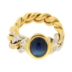 Pomellato 18 Karat Yellow and White Gold Diamonds Sapphire Band Ring