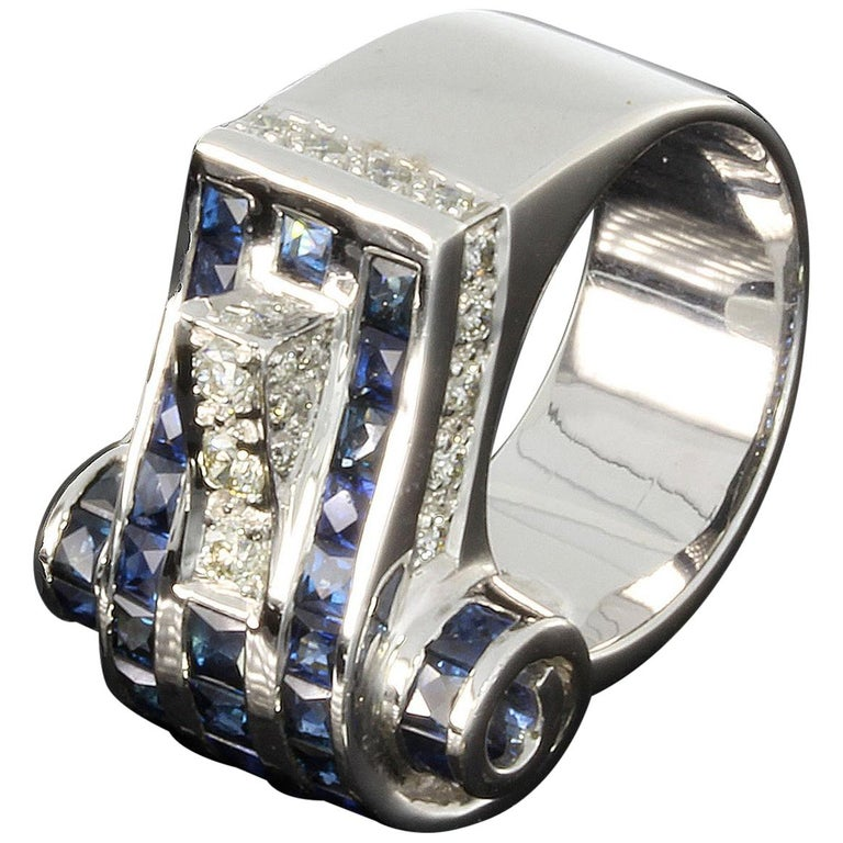 1940s Diamond Sapphire White Gold Ring For Sale