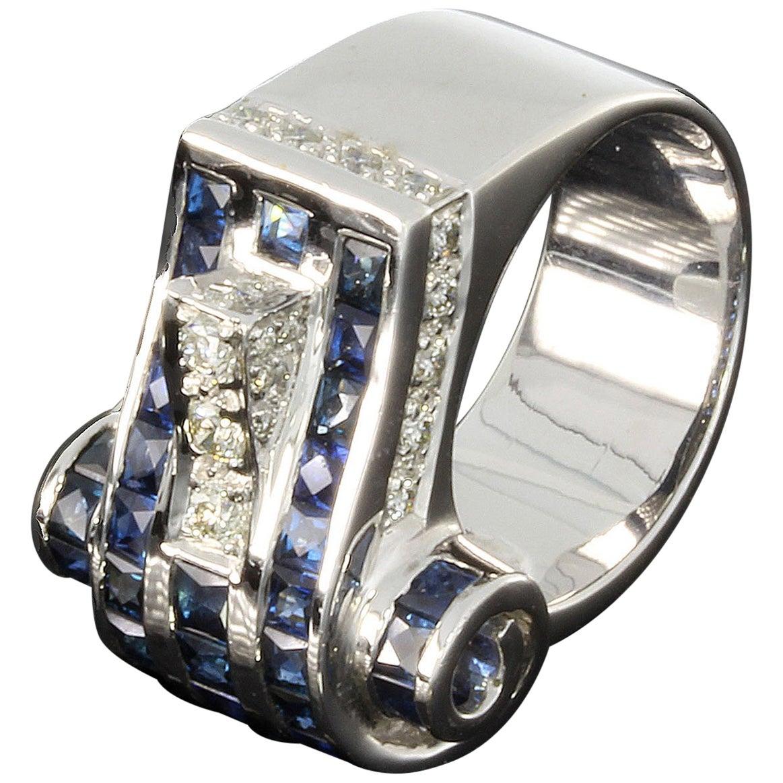 1940s Diamond Sapphire White Gold Ring