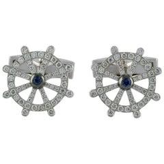 1.56 Carat Diamond 0.16 Carat Sapphire 18 Karat White Gold Cufflink