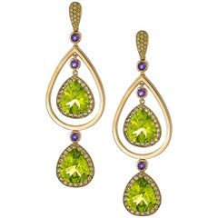 15.92 Carat Peridot, Yellow Sapphire and Amethyst Earrings in 18k Yellow Gold