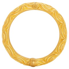 24 Karat Pure Gold Handcrafted Wavey Repousse Cuff Bracelet