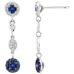 Sapphire and Diamond Gold Drop Earrings