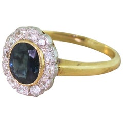 Art Deco 1.21 Carat Sapphire and 0.48 Carat Old Cut Diamond Ring