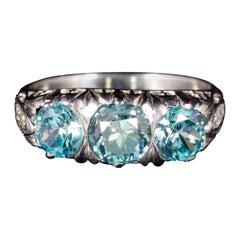 Antique Victorian Blue Zircon Diamond Trilogy Ring 9 Carat, circa 1900