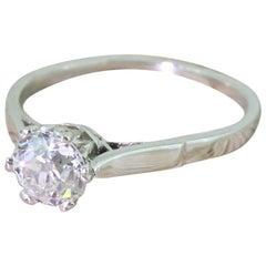 Art Deco 0.73 Karat Alter Schliff Diamant Platin Verlobungsring
