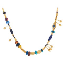 Handcrafted 24 Karat Pure Gold Trojan Necklace with Roman Beads