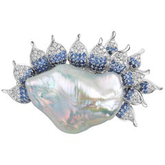 Fei Liu Pearl Diamonds Sapphires White Gold Brooch Pendant Necklace