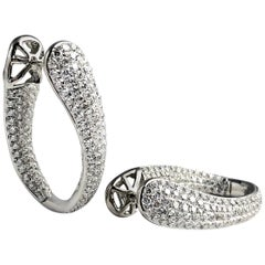 4.28 Carat Diamond Hoop Earrings by DiamondTown in 18 Karat White Gold