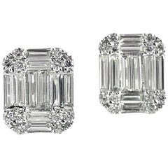 1.09 Carat Baguette and Round Diamond Stud Earrings in 18 Karat White Gold