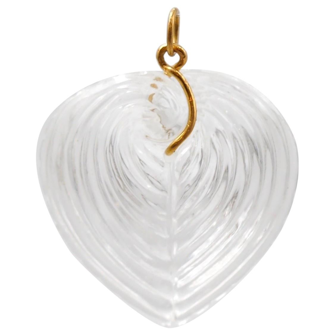 Hand Carved Rock Crystal Large Heart Shell 22 Karat Gold Pendant