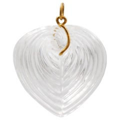 Hand Carved Rock Crystal Large Heart Shell 22 Karat Gold Pendant
