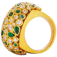24 Karat Gold Handcrafted Fancy Shape Emerald and Diamonds Cocktail Ring