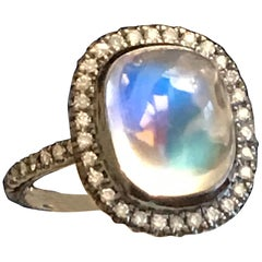 Bella Campbell/Campbellian, Statement Rainbow Moonstone Ring with Diamond Accent