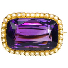 Antique Amethyst and Pearl Brooch 19th Century