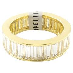 18 Karat Yellow Gold 4.48 Carat Baguette Cut Diamond Eternity Band Ring