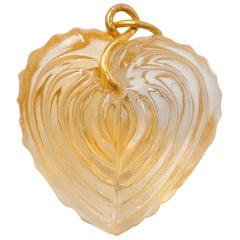 Hand Carved Citrine Heart Shell 22 Karat Gold Pendant