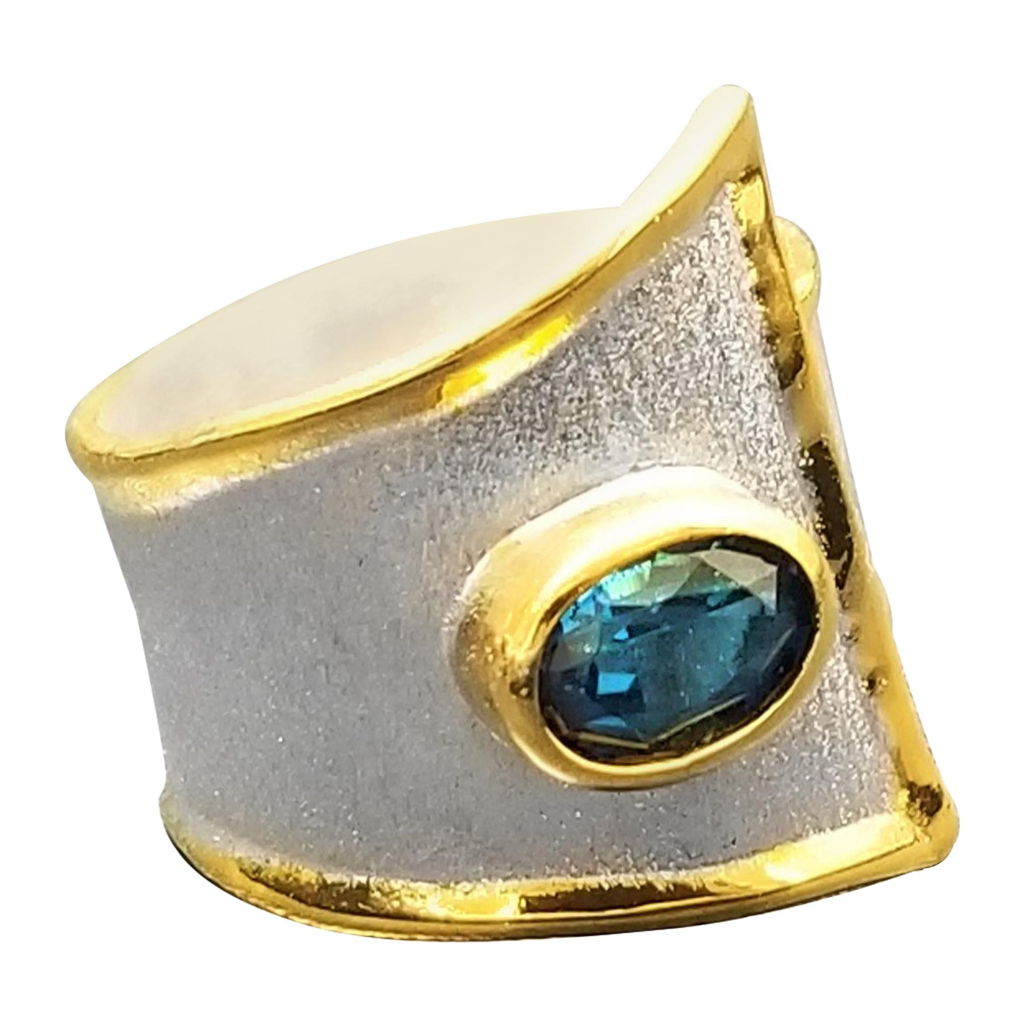 Yianni Creations Blue Topaz Fine Silver 24 Karat Gold Two Tone Wide Band Ring