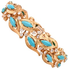 1960s Vintage Diamond Persian Turquoise Diamond Gold Bracelet