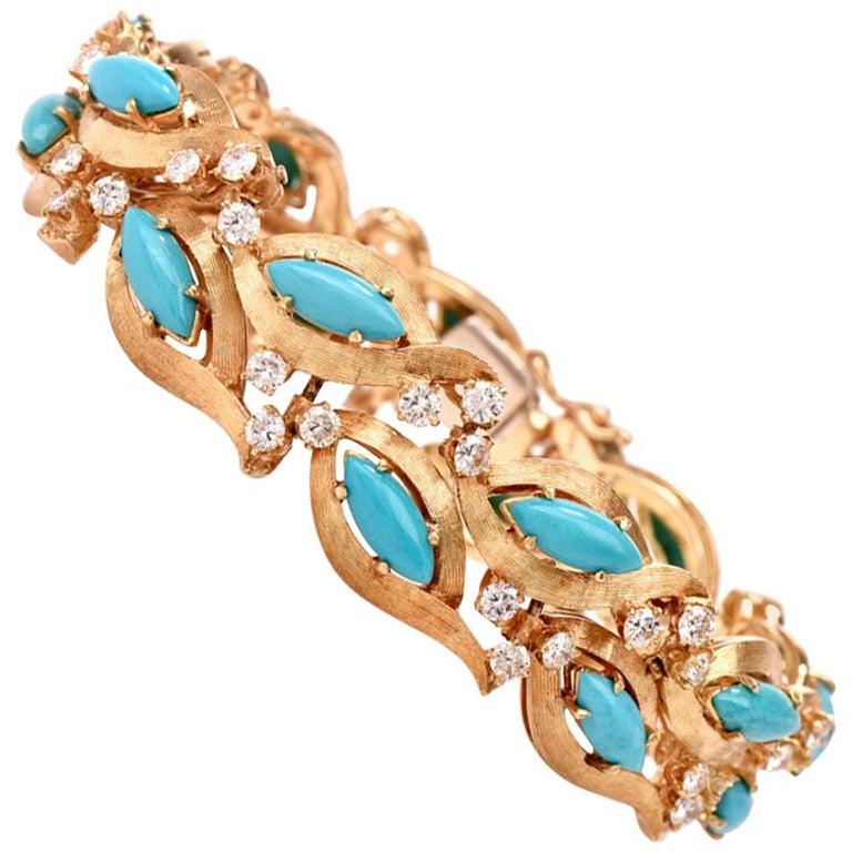 1960s Vintage Diamond Persian Turquoise Diamond Gold Bracelet For Sale