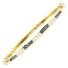 Tiffany & Co. Yellow Gold Sapphire and Diamond Bangle Bracelet