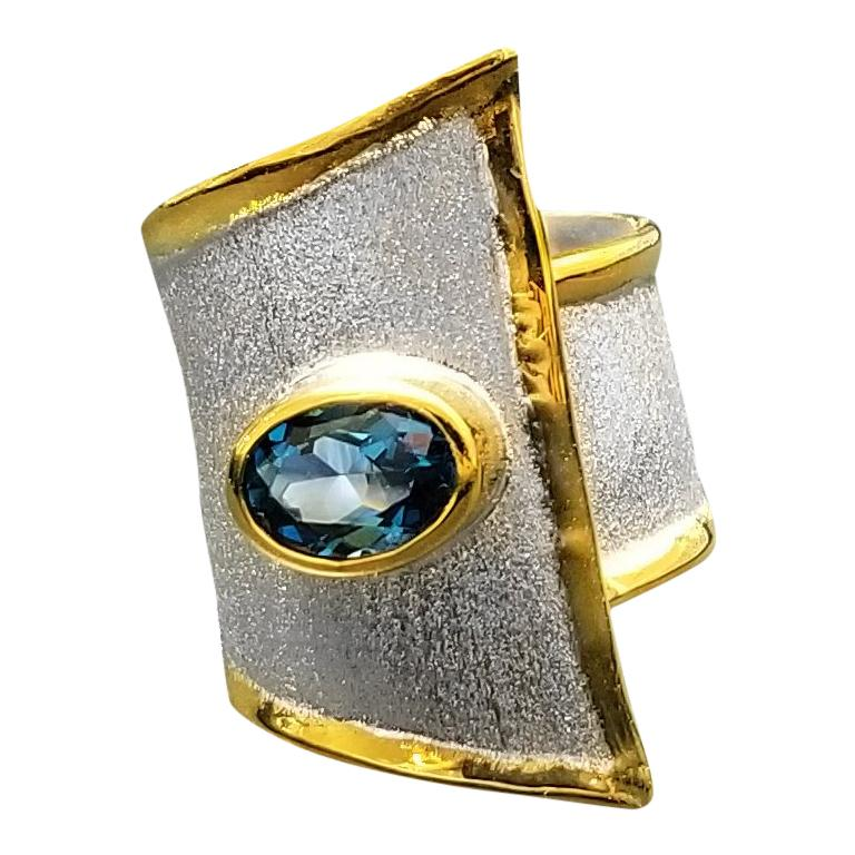 Yianni Creations Blue Topaz Fine Silver 24-Karat Gold Two Tone Wide Band Ring