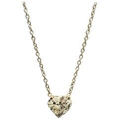 Heart Shaped Diamond 1.95 Carat Solitaire Pendant, Set in Platinum on Chain