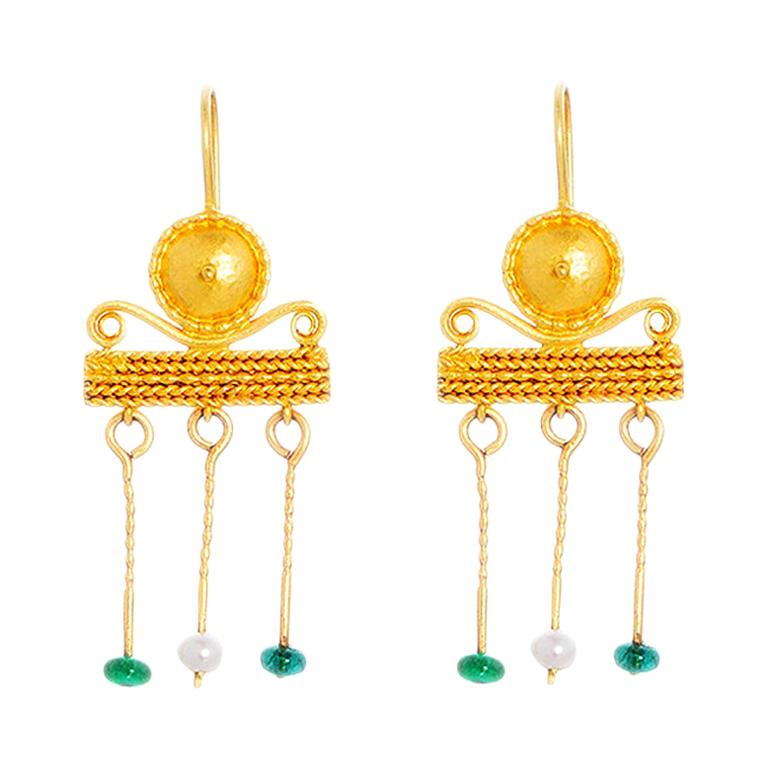 3b9b9a6b43108 24 Karat Gold Handcrafted Roman Style Pearl and Emerald Earrings