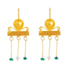 24 Karat Gold Handcrafted Roman Style Pearl and Emerald Earrings