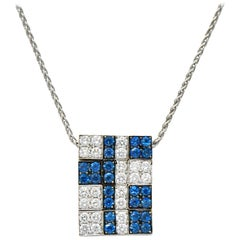 G. Bulgari 1.25 Carat Diamond Sapphire 18 Karat White Gold Enigma Necklace