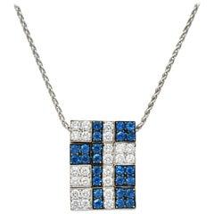 G. Bulgari 1.25 Carat Diamond Sapphire 18 Karat White Gold Enigma Necklace