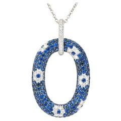 Roberto Coin 9.55 Carat Sapphire Diamond 18 Karat White Gold Pendant